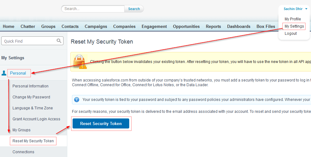 salesforce reset token