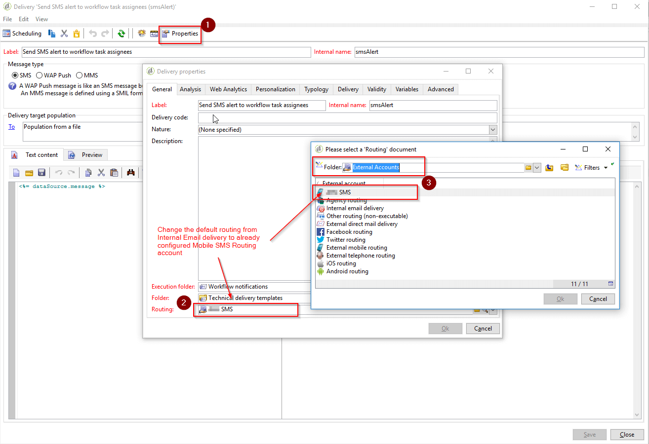 Change Routing to SMS Routing account