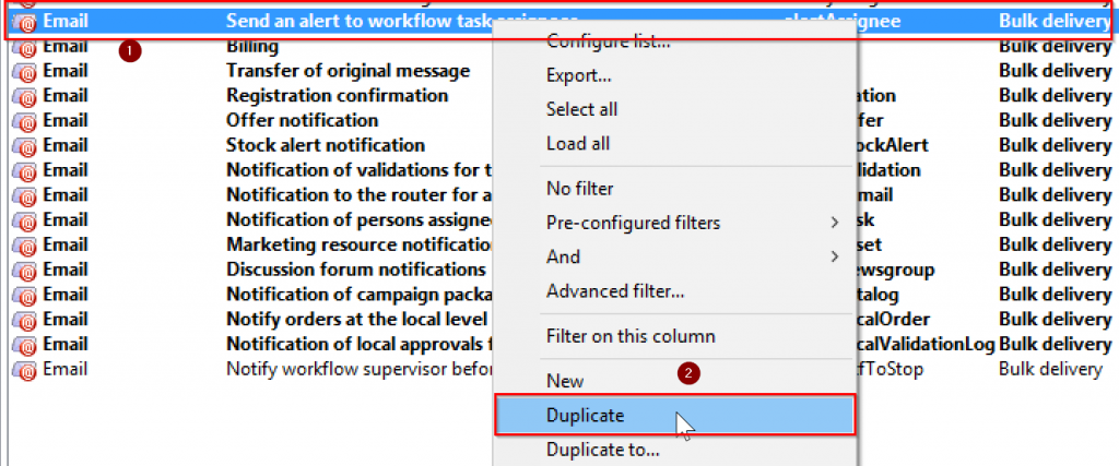 Duplicate delivery template